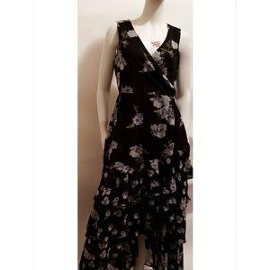 Navy,Flower print ruffle dress